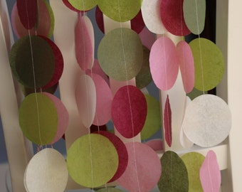 Tissue Paper Garland, Party Garland, Birthday Garland, Wedding Garland- Berry and Moss Hues