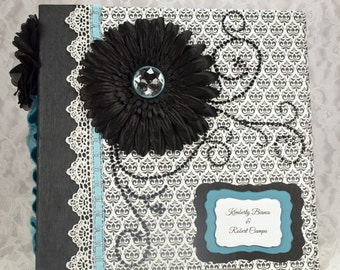 Engagement Photo Album, Black & White Scrapbook, Engagement Album,Custom Scrapbook