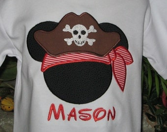 Mickey Mouse Pirate Applique T Shirt - Disney Pirate Shirt  with Free Personalization