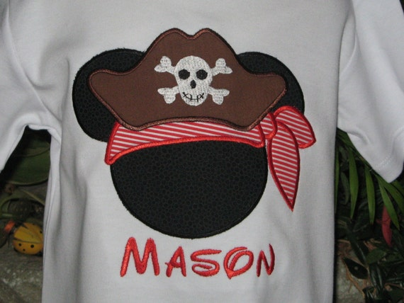 Items Similar To Mickey Mouse Pirate Applique T Shirt