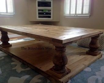 60x40x19 Canyon Brown Salvage Wood Finish Balustrade Coffee Table Beautiful Chunky Legs Completely Handcrafted