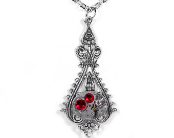 Steampunk Necklace Vintage Ruby Watch Victorian Silver Filigree RED Crystals Womens Holiday Gift Valentines- Jewelry by Steampunk Boutique