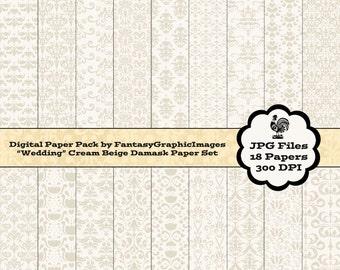 Wedding Cream Damask Digital Paper Pack - 18 Different Damask Papers - Cream Beige - Scrapbooking - Instant Download