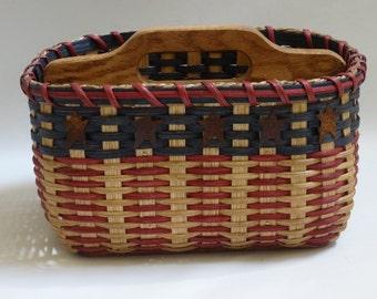 Paper Plate Basket / Silverware Basket / Americana Basket / Handwoven Basket