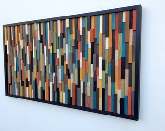 Wood Wall Art - Wood Art Sculpture - Reclaimed Wood Art - Modern Wall Art/Abstract Painting on Wood