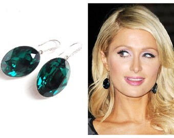 SALE was 49.99 // Paris Hilton's Earrings Inspired  Emerald Green Swarovski Crystal Earrings with White Gold Plated CZ Ear Hooks