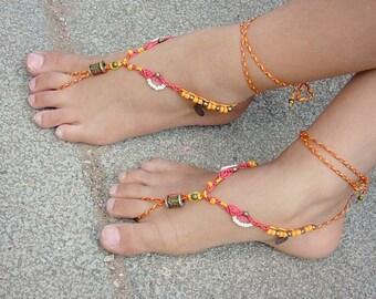 Girl's barefoot sandals - fire dance- hippie macrame anklets beaded feet jewels orange red surprise - tagt team