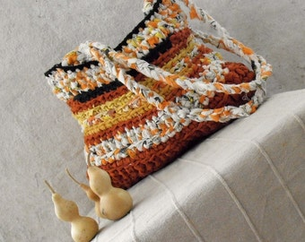 Rag crochet shoulder bag orange bliss fabric bag yellow black tagt team