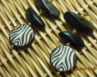 Brown Zebra Stripe Bone Bead with Wood Beads Earrings