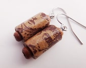Upcycled Paper Bead Earrings made from Trader Joe's Shopping Bags hypo allergenic