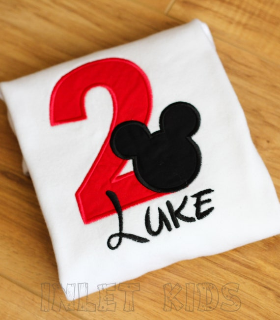 Boys Mickey Mouse Birthday Shirt, Long or short sleeve