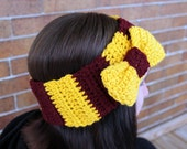 Gryffindor Inspired Ear Warmer Bow Headband - Grey - Winter Hair Accessories by Julian Bean