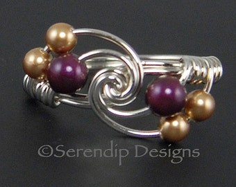 Silver Pearl Twist Ring, Argentium Sterling Silver Ring with Blackberry and Gold Pearl Clusters, Custom Silver Pearl Twist Ring, Multi Pearl
