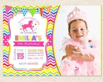 Unicorn Birthday Invitation - Unicorn Rainbow Party