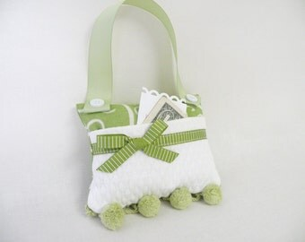 Tooth Fairy Pillow or Purse Toy Apple Green and Creamy White - Gift for Girls