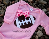 Girls Pink Football Bodysuit With Bow Personalized Appliqued Baby Toddler