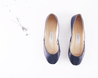 Navy Blue Leather Ballet Flats | Dark Blue Leather Shoes | Night Blue...made to order