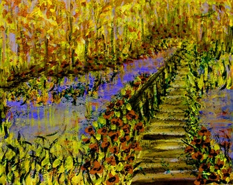 Impressionism Painting, Impressionistic Painting, Landscape Scene Painting, Landscape Impressionism, Acrylic Painting, Woods Painting, Fall