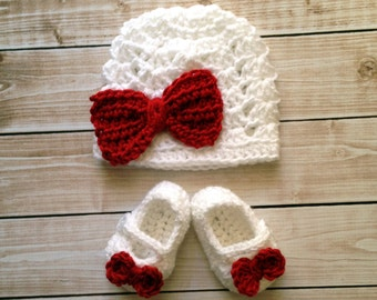 Ashlee Christmas Beanie and Matching Mary Jane Baby Booties/Hat and Shoe set in Red and White in 0 to 24 Months Size- MADE TO ORDER