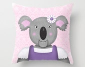 Koala Bear Pillow, Nursery Pillow, Kids Decorative Pillow, Throw Pillow, Kids Accent Pillow, Koala Bear Children's decor
