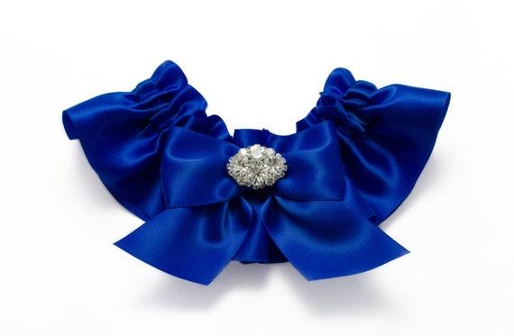 Wedding garter - bridal garter - cobalt blue garter with rhinestones - cobalt blue satin garter- cobalt blue garter - blue rhinestone garter