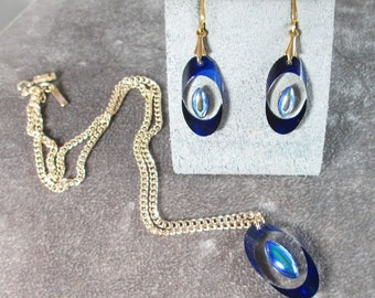 Vintage Signed GERMANY Necklace, Pendant, Earring, Lucite Gold Tone Blue