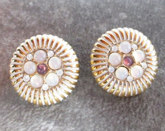 Vintage Monet Pierced Earrings with Opal Stones Gold Plated and Rhinestones