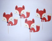 Woodland Animal / Woodland Creature - Fox Cupcake Toppers - Set of 4