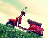 Vespa, RED scooter on the grass art photo, Stella scooter, city chic urban loft, Italian scooter