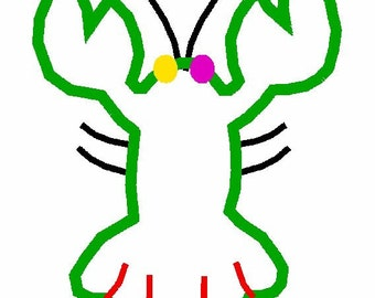 INSTANT DOWNLOAD Lobster applique 4x4 5x7 6x10