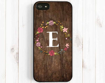 Flower Wreath iPhone Case, Personalized Monogram iPhone 7 5 5C 5S iPhone 4S, Printed Image Wood Pattern Samsung Galaxy S3 S4 S5, Note 3 NP19