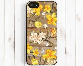 Daffodil Pattern iPhone Case, Personalized Monogram Printed Image Wood iPhone 7 6 5, iPhone 5C, iPhone 4S, Samsung Galaxy S3 S4 Note 3 np41