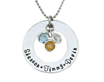 Hand Stamped Washer Birthstone Hand Stamped Necklace - Mothers Necklace- Mothers Jewelry - Hand Stamped Stainless Steel