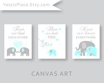 CANVAS Art, Elephant Family, Baby boy, Aqua blue nursery decor, Kids Wall Art, First we had each other. set of 3 by YassisPlace