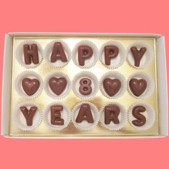 Wedding Gifts For 8 Year Anniversary : 8th Eight Wedding Anniversary Happy 8 Years Large Milk Chocolate ...