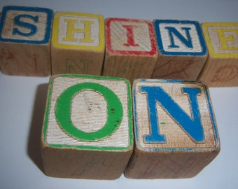 Vintage Children's Wooden Blocks Two Sizes (17) Piece Set  Online Vintage Children Blocks Message Blocks