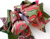 Girls Boutique Layered Hair Bow - Olive Paisley - Olive Green, Pink, White, Paisley, Fall