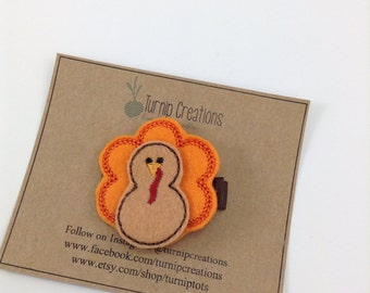 Turkey Hair Clip Thanksgiving Feltie Fall Hair Clip Brown Orange Felt Hair Clips Felt Hairclip