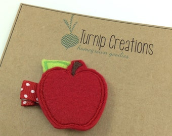 Back to School Hair Clips Apple Felt Hairclip Feltie