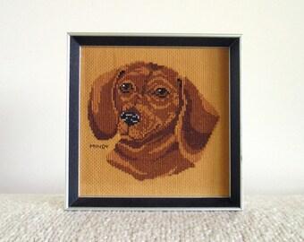 Framed Needlepoint Dachshund, Weiner Dog