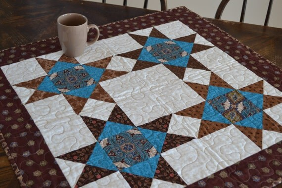 Square Quilted Table Runner Brown Turquoise Stars, Country Quilt