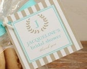 24 - Bridal Shower Favor Tags - Striped Monogram Design - ANY COLOR - Wedding Favor Tag, Personalized Tag, Party Favor Tag, Monogram Tag