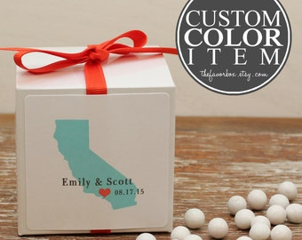 12 - Personalized Wedding Favor Boxes - Destination Label - Wedding Favors, Bridal Shower Favors, Personalized Favor Box, State Silhouette