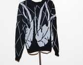 Vintage Sweater Silver Ice on Black 80s