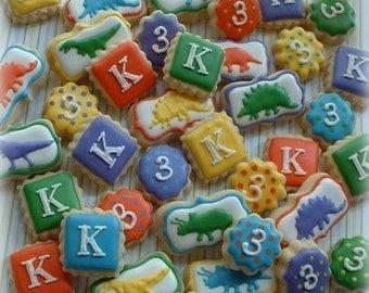 Dinosaur cookies - 3 dozen MINI dino cookies - Number Cookies - Letter Cookies - Children's birthday cookie favors - personalized cookies