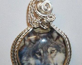 Lone Wolf Art Glass Cameo Pendant