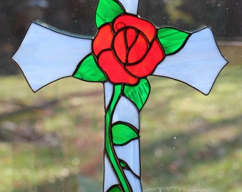 Blue and Red Rose Stained Glass Cross