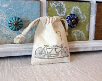 10 Cotton Drawstring Muslin Favor Bags - Tandem Bike