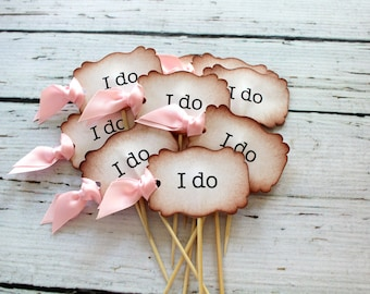 """Vintage Inspired """"I do"""" Cupcake Toppers - Set of 12 - Personalized - You Choose Ribbon Color"""
