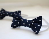 Dapper Dude Hipster Bow Tie. Navy Blue and White Polkadot. Ready to Ship in Size Newborn/6 Months. Weddings, Photo Prop, Preppy, Nautical.